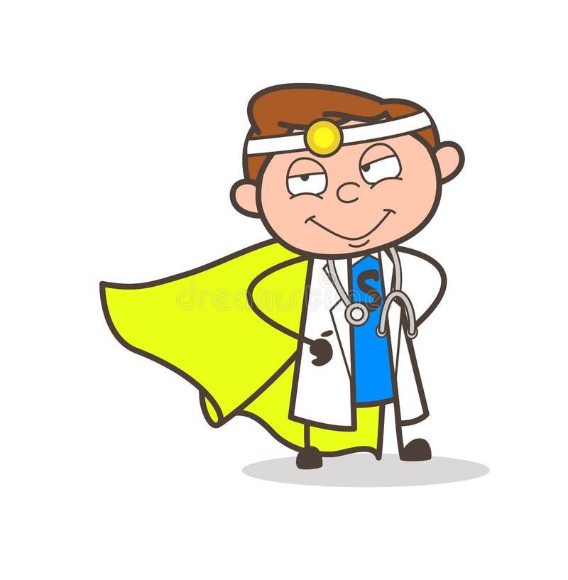 Kreskówka Super bohatera lekarki wektoru ilustracja ilustracja wektor