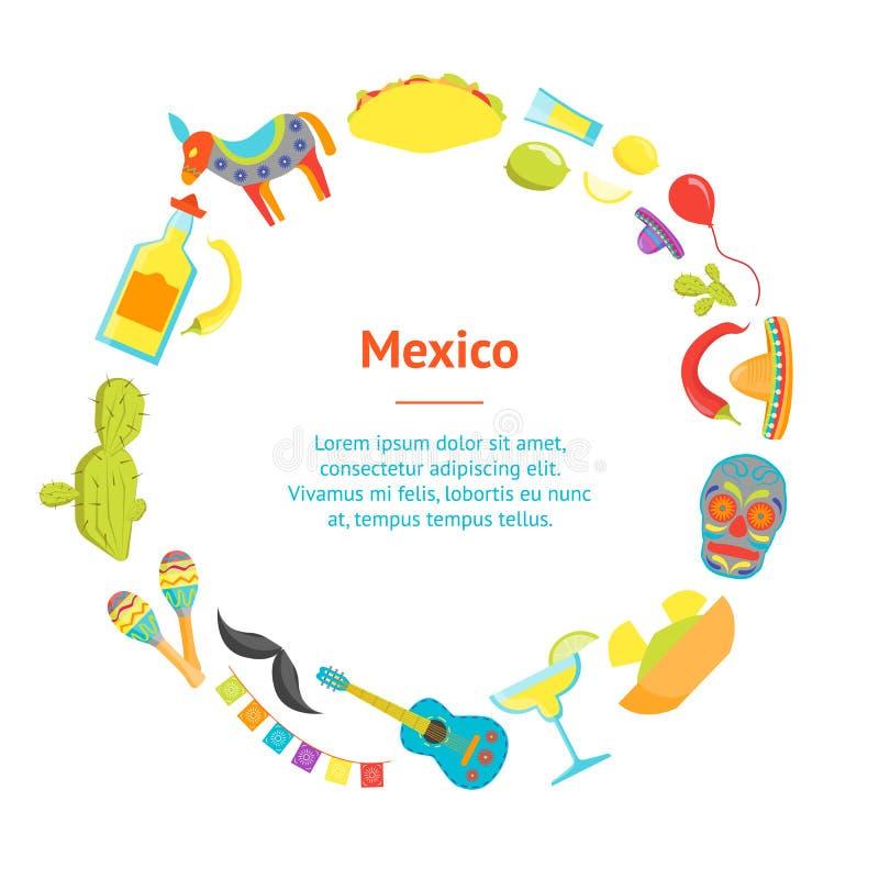 Kreskówka symbol Meksyk sztandaru karty okrąg wektor ilustracja wektor