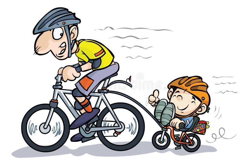 Kreskówka Syna I Ojca Bicyclists. Fotografia Stock
