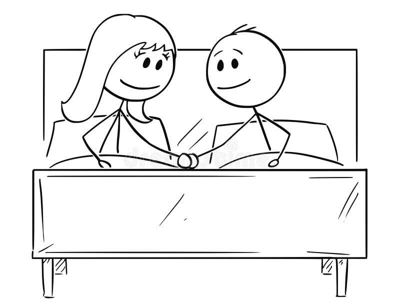 Kreskówka Szczęśliwa para w łóżku, Trzyma Each Inny Wręcza royalty ilustracja