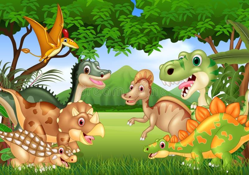 Kreskówka szczęśliwi dinosaury żyje w dżungli royalty ilustracja