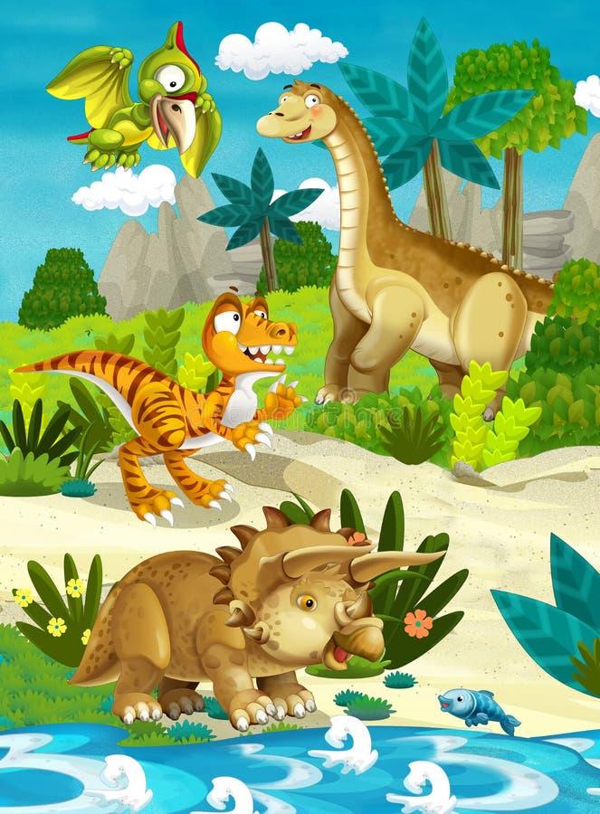 Kreskówka szczęśliwi dinosaury royalty ilustracja