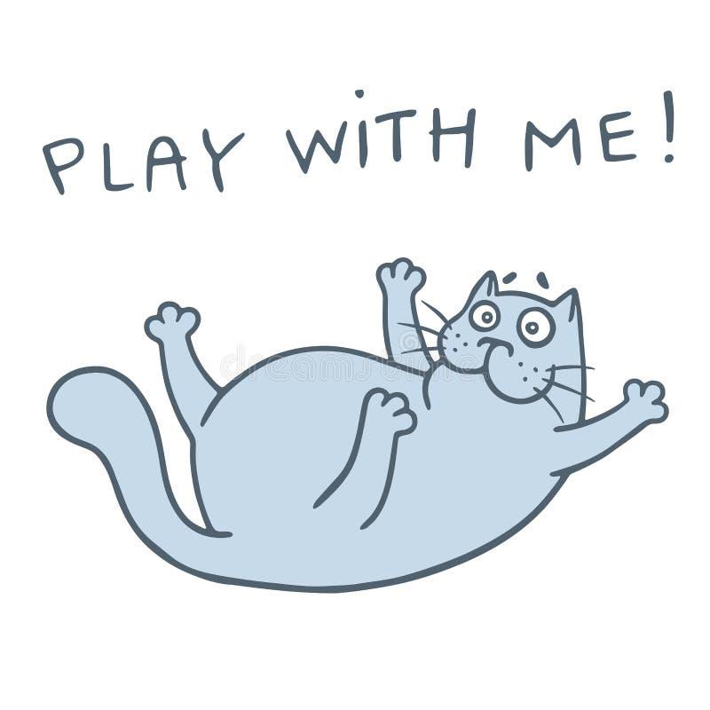 Kreskówka szczęśliwy kot chce bawić się grę również zwrócić corel ilustracji wektora royalty ilustracja