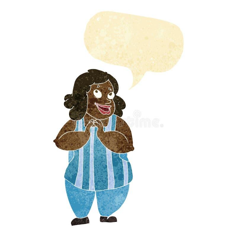 kreskówka szczęśliwy kucharz z mowa bąblem ilustracja wektor