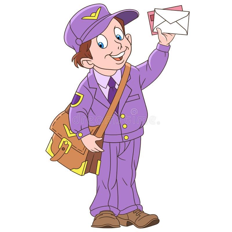 Kreskówka szczęśliwy listonosz z listem ilustracji