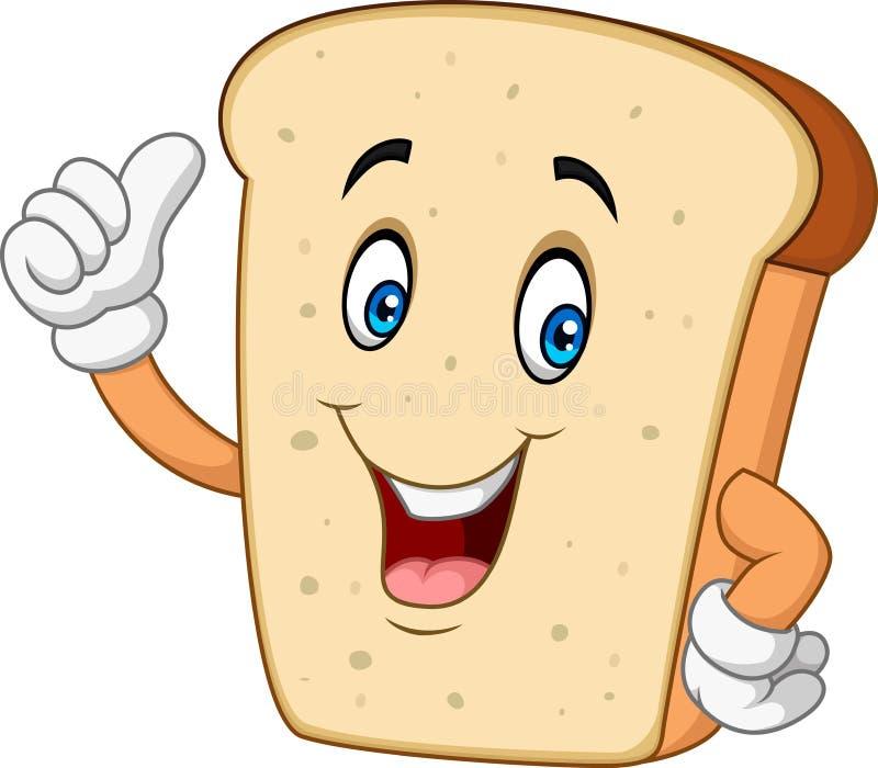 Kreskówka szczęśliwy pokrojony chlebowy daje kciuk up ilustracji