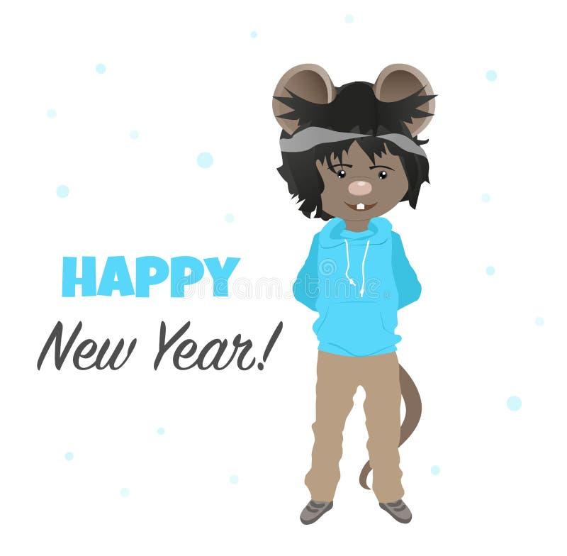 Kreskówka szczur w błękitnym hoodie szcz??liwego nowego roku, w roku szczura chi?ski horoskop s?odka mysz royalty ilustracja