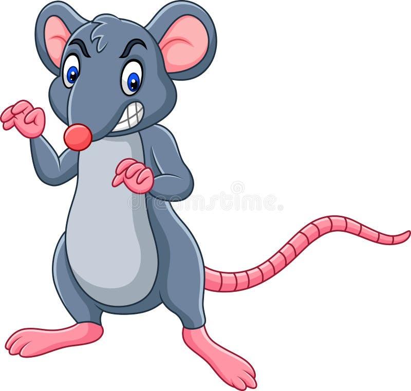 Kreskówka szczur z gniewnym wyrażeniem ilustracja wektor