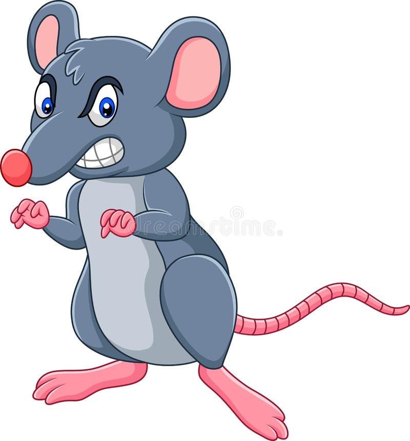 Kreskówka szczur z gniewnym wyrażeniem ilustracji