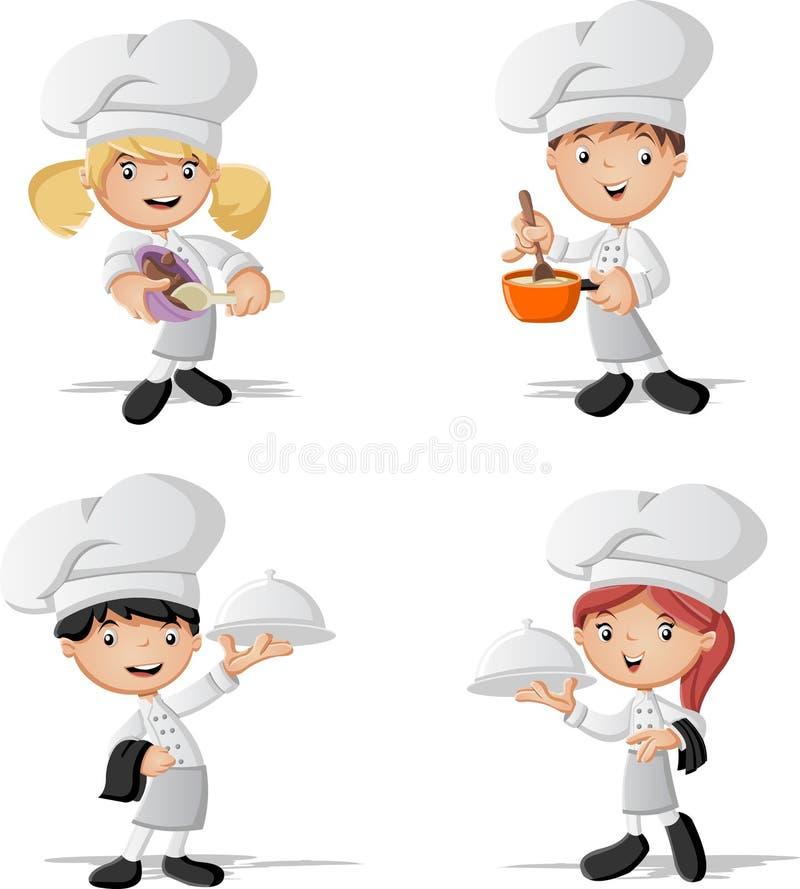 Kreskówka szefów kuchni gotować royalty ilustracja
