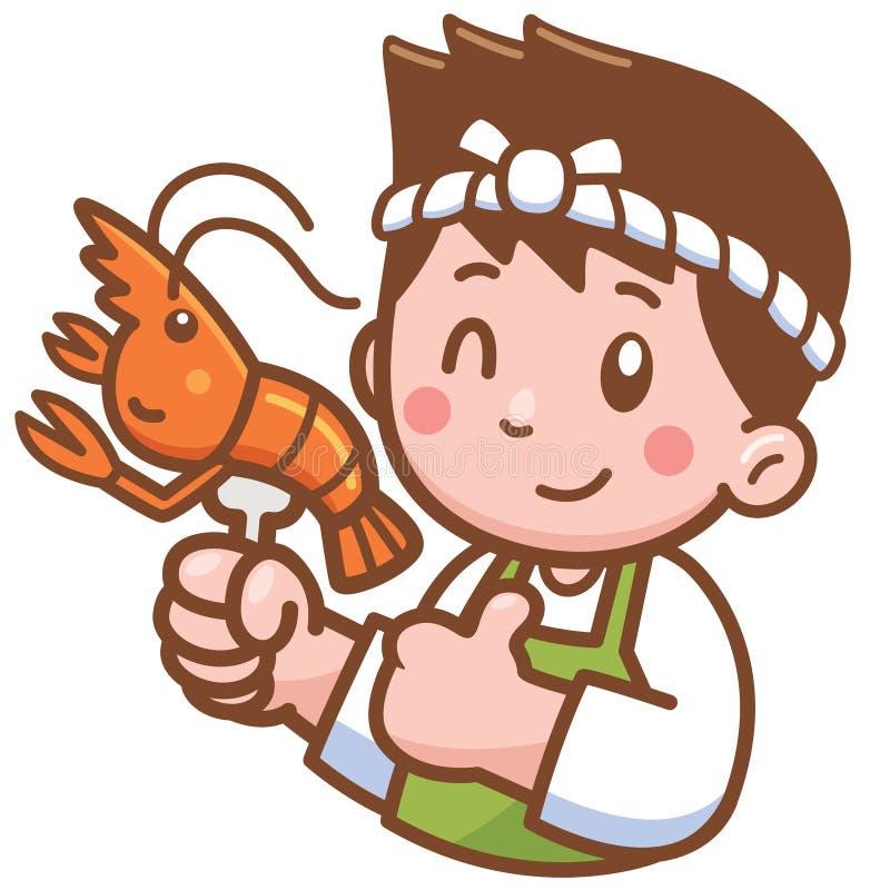 Kreskówka szef kuchni przedstawia jedzenie royalty ilustracja