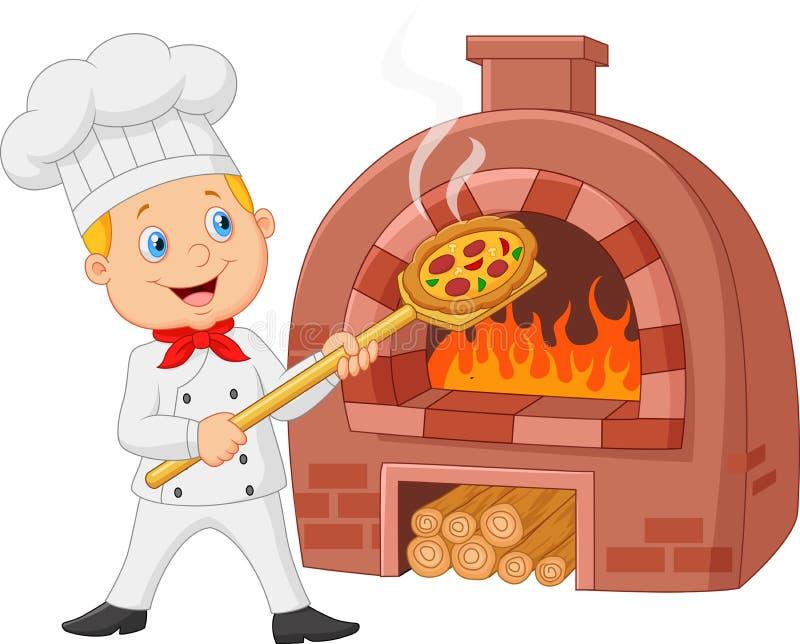 Kreskówka szef kuchni trzyma gorącą pizzę z tradycyjnym piekarnikiem ilustracji