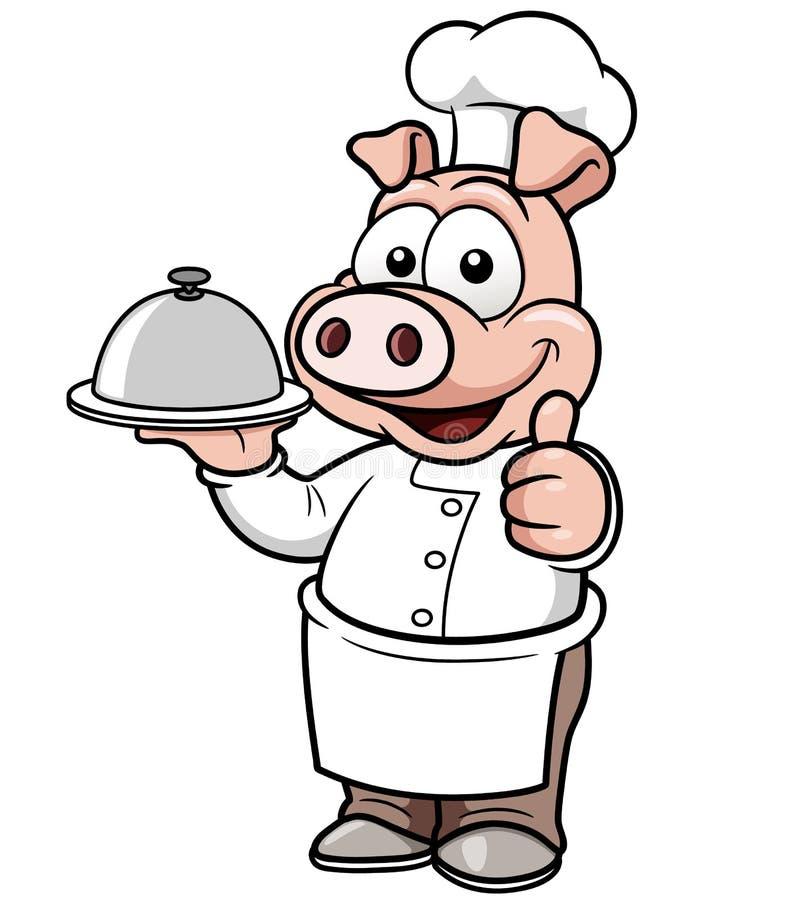 Kreskówka szefa kuchni świnia royalty ilustracja