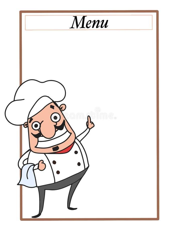 Kreskówka szefa kuchni charaktery wskazuje z jego palca i menu bielu tłem royalty ilustracja