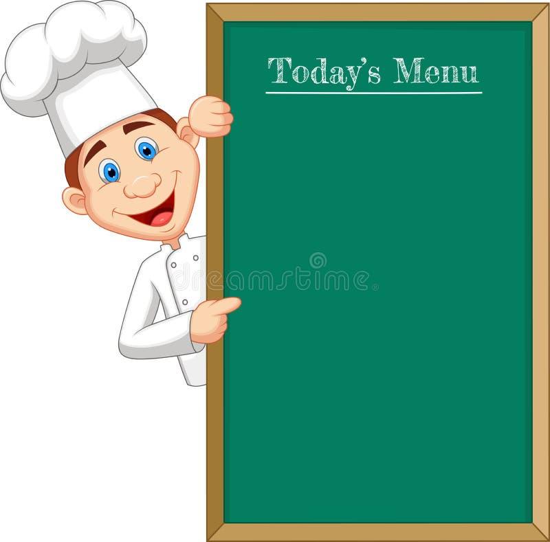 Kreskówka szefa kuchni cloche wskazuje przy menu lub sztandarem ilustracji