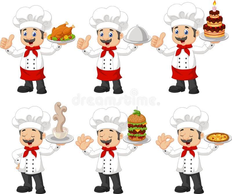 Kreskówka szefa kuchni kolekcja ustawia odosobnionego na białym tle ilustracja wektor