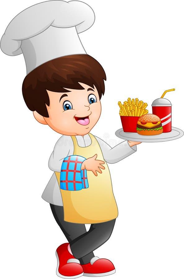 Kreskówka szefa kuchni kulinarny mienie fast food taca royalty ilustracja
