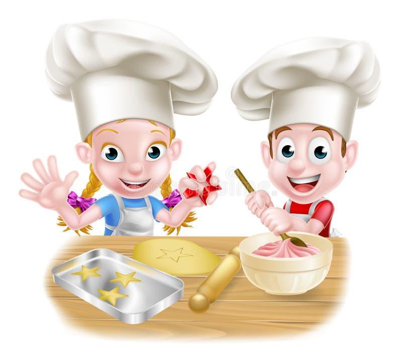 Kreskówka szefa kuchni piekarza dzieci ilustracja wektor