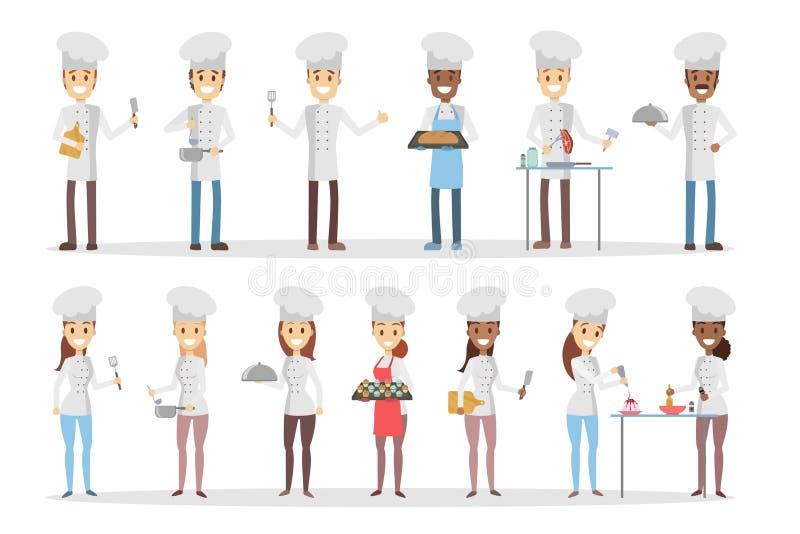 Kreskówka szefowie kuchni ustawiający ilustracji