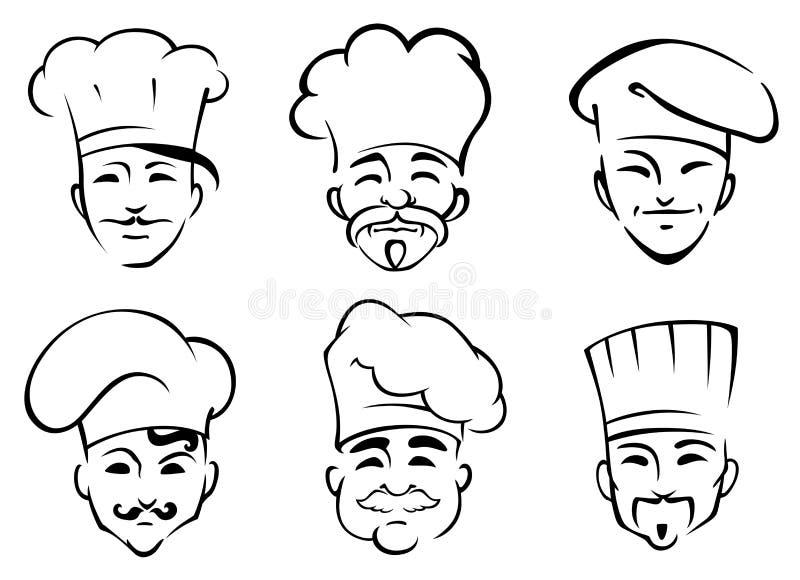 Kreskówka szefowie kuchni w toques ilustracji