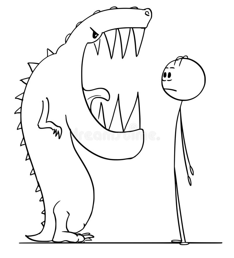 Kreskówka Szokujący mężczyzny dopatrywania usta Niebezpieczny Gigantycznej jaszczurki potwór royalty ilustracja