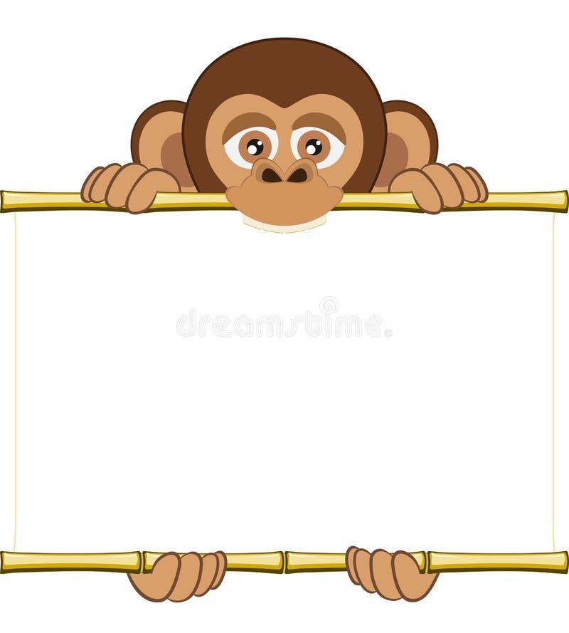 Kreskówka szympansa lisiątko trzyma pustego prześcieradło papier ilustracji