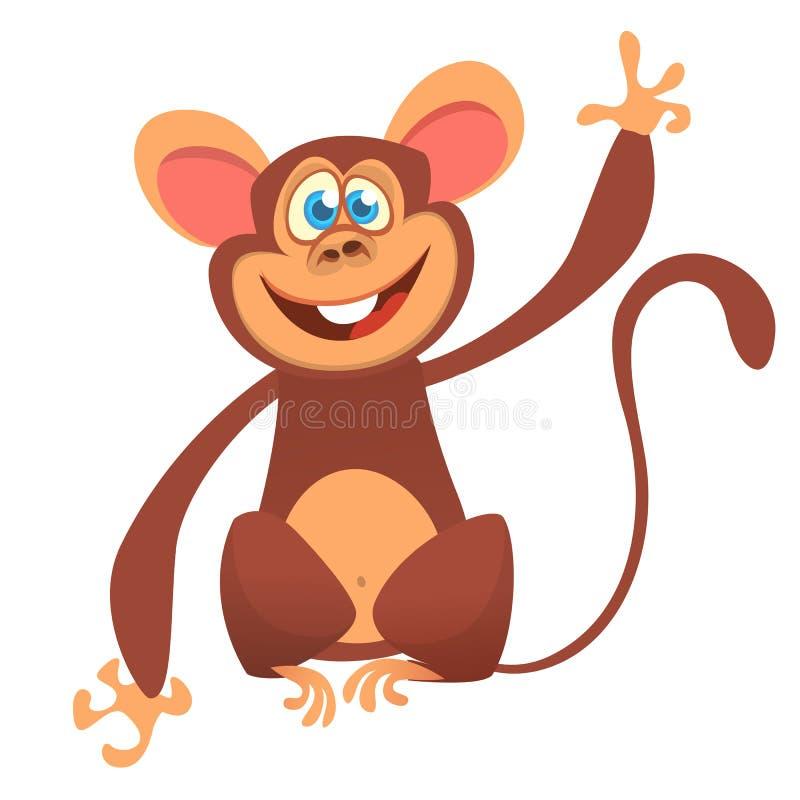 Kreskówka szympansa małpy śliczny falowanie Odizolowywająca wektorowa ilustracja ilustracji