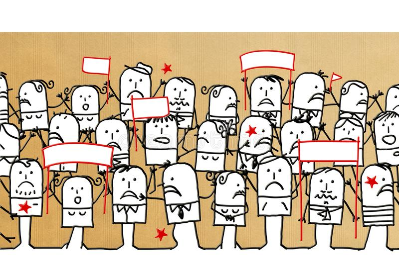 Kreskówka tłum z nieszczęśliwymi ludźmi royalty ilustracja