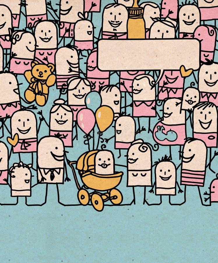 Kreskówka tłumu Szczęśliwi ludzie i Nowonarodzony dziecko ilustracji