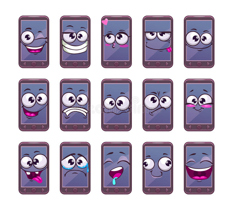 Kreskówka telefonu mobilni mądrze charaktery ustawiający ilustracja wektor