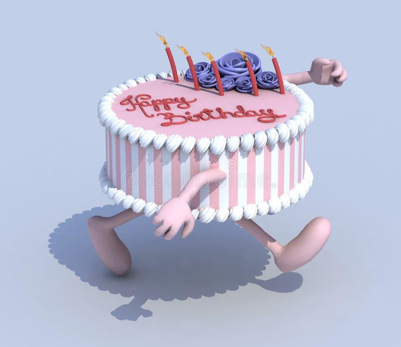 Kreskówka tort z rękami i noga biegaczem royalty ilustracja