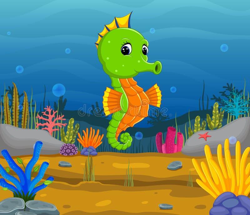 Kreskówka tropikalny denny koń z pięknym podwodnym światem ilustracja wektor