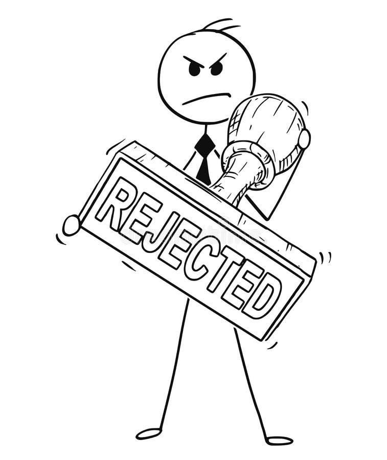 Kreskówka Trzyma Dużej ręki guma Odrzucającego znaczek biznesmen ilustracji