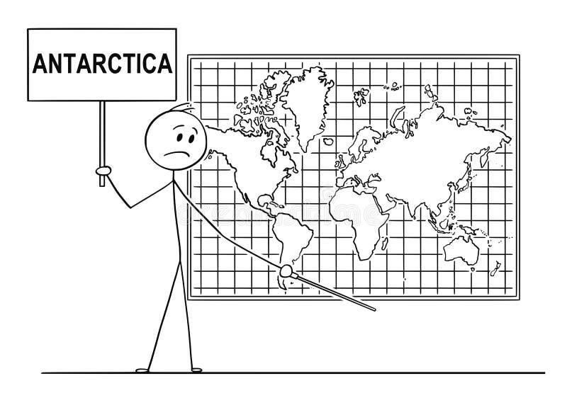 Kreskówka Trzyma znaka i Wskazuje przy miejscem Pod Ścienną Światową mapą mężczyzna Dokąd Antarctica kontynent Musi Być ilustracja wektor