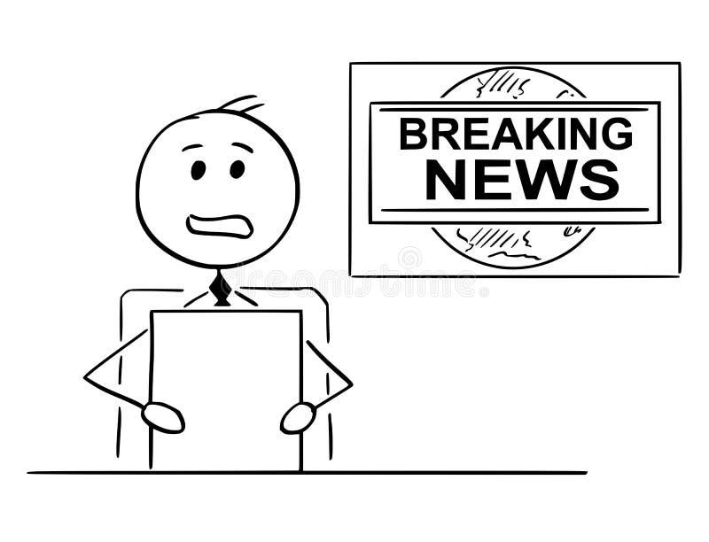 Kreskówka Tv, wiadomości telewizyjne podawca lub reporter lub royalty ilustracja