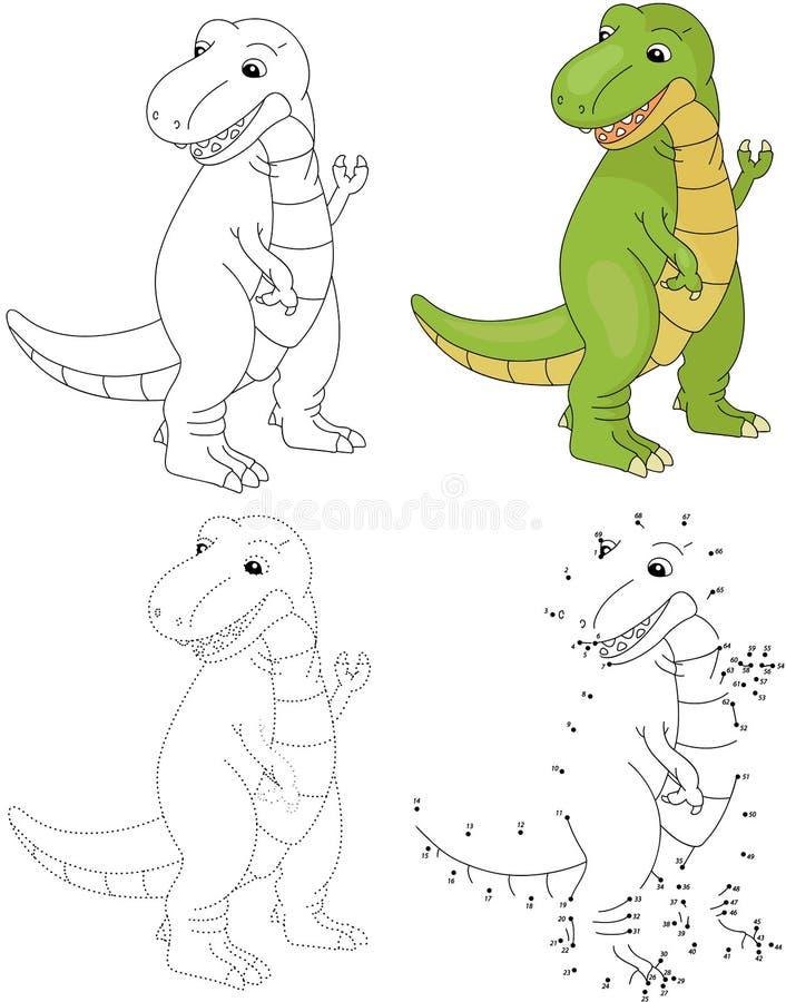 Kreskówka tyranozaur również zwrócić corel ilustracji wektora Kropka kropkować grę dla ki ilustracji