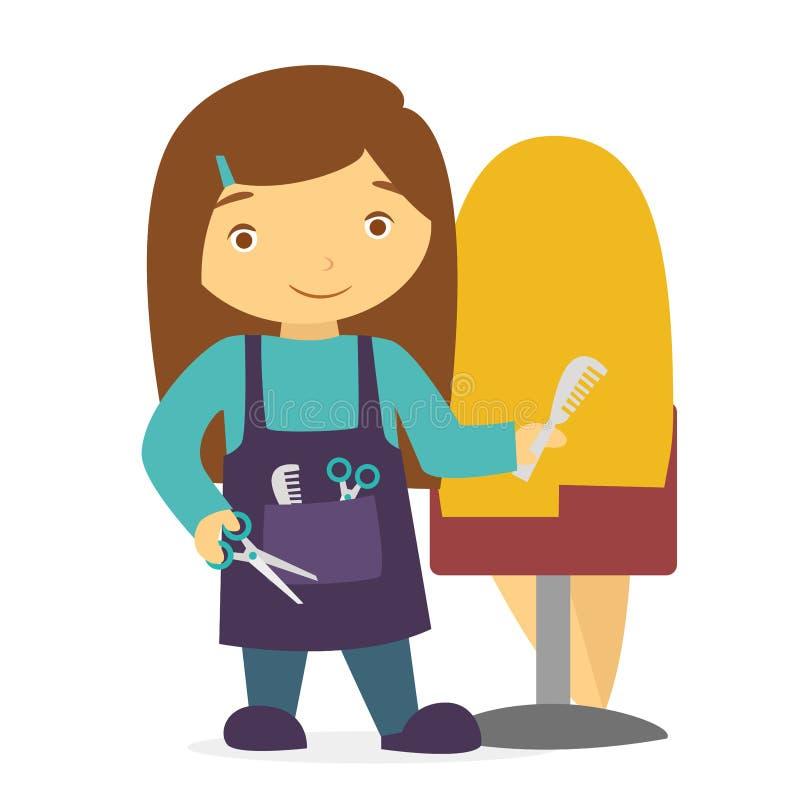 Kreskówka uśmiechnięty fryzjer z nożycowym i hairbrush ilustracji