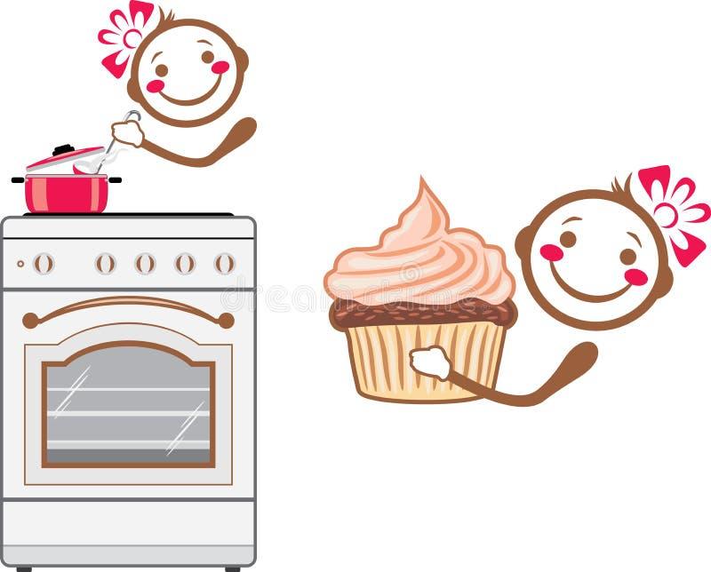 Kreskówka uśmiechnięty kucharz royalty ilustracja