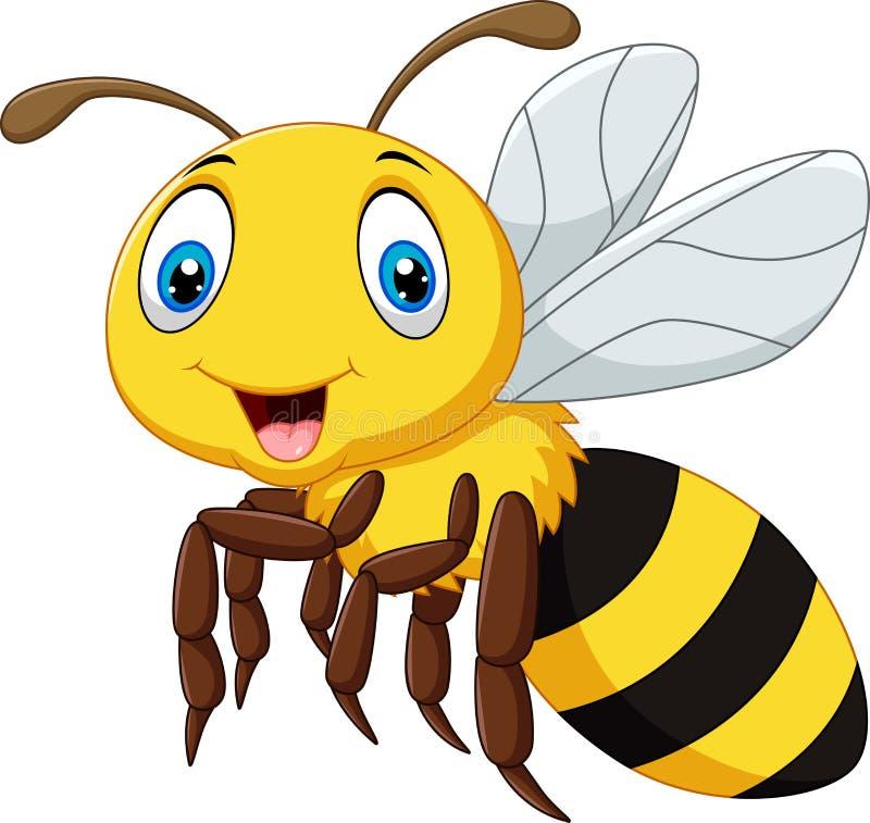 Kreskówka uśmiechu pszczoły latanie odizolowywający na białym tle ilustracja wektor