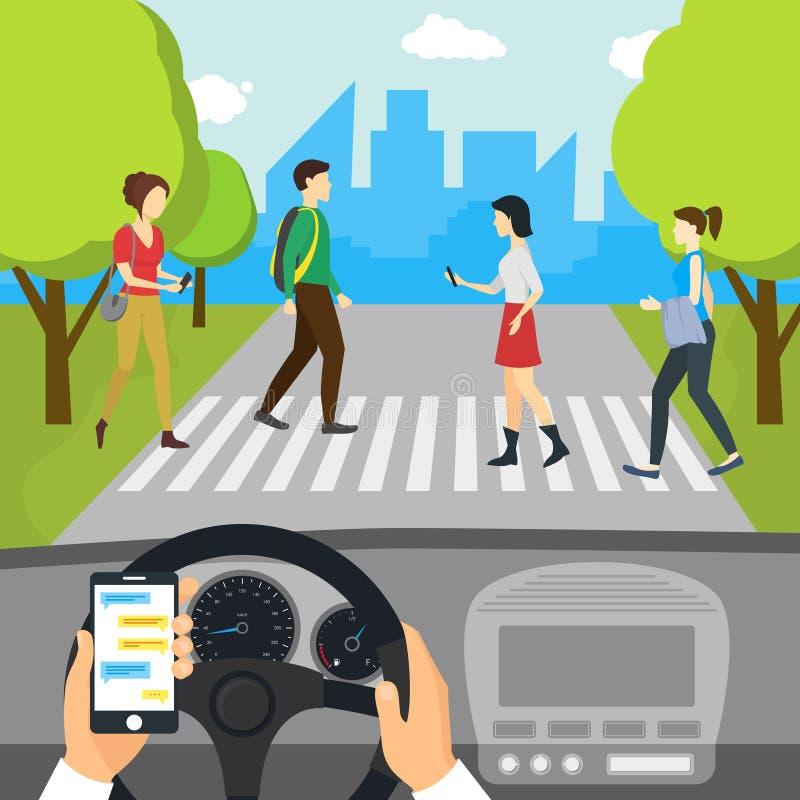 Kreskówka Używać Smartphone Jedzie Samochodowej karty plakat wektor ilustracji