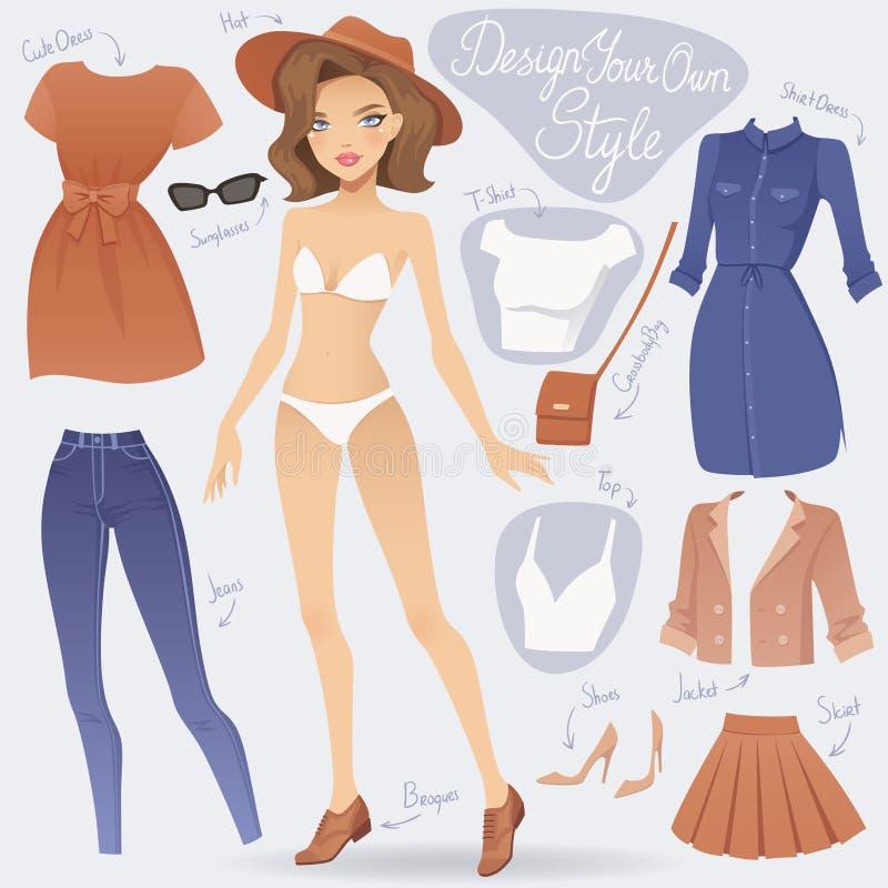 Kreskówka ubiera up mody dziewczyny charakteru ilustracja wektor