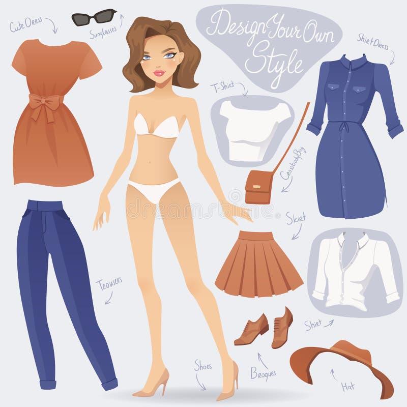 Kreskówka ubiera up mody dziewczyny charakteru royalty ilustracja
