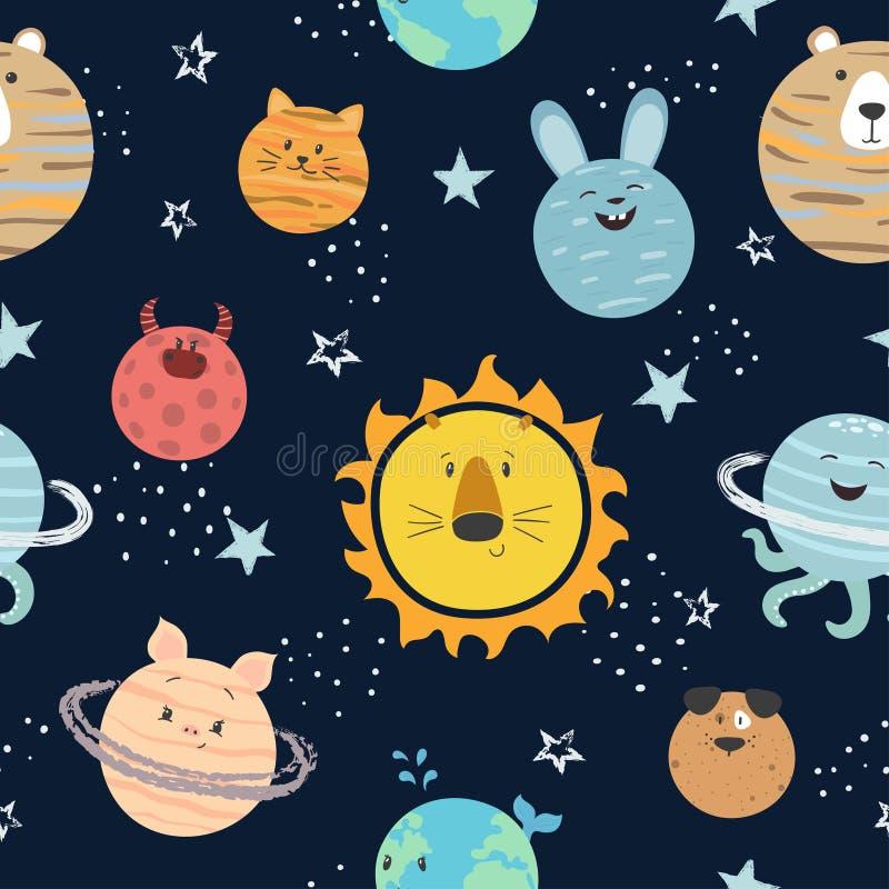 Kreskówka układu słonecznego wzór Astronautycznego wektoru tło z ślicznymi planetami ilustracji