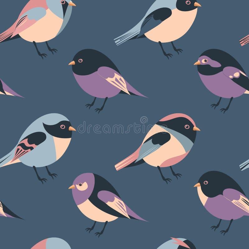 Kreskówka upierzających i oskrzydlonych ptaków bezszwowy tło ilustracji