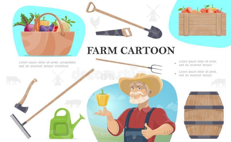 Kreskówka Uprawia ziemię skład ilustracji
