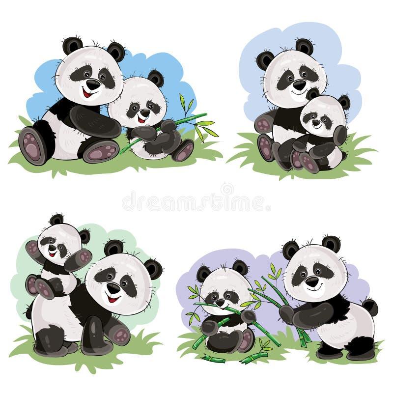kreskówka ustawiająca śliczni panda niedźwiedzia charaktery royalty ilustracja
