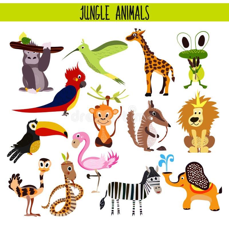 Kreskówka Ustawiająca Śliczni zwierzęta lwa, zebry, słonia, węża, ptaka pieprzojad, flaming, nucący ptasią tropikalną dżunglę i ilustracja wektor