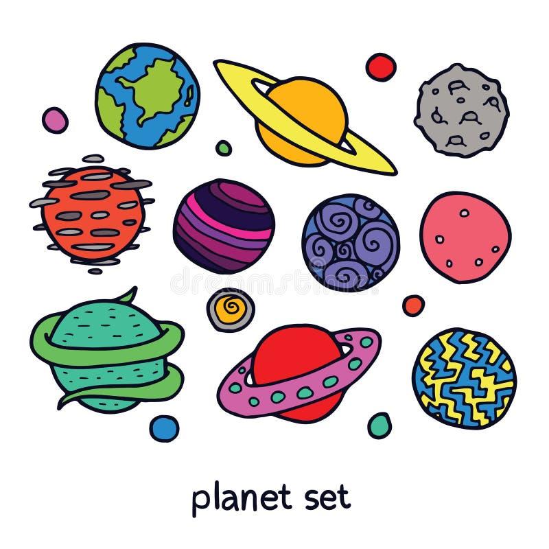 Kreskówka Ustawiająca Powieściowe planety ilustracja wektor