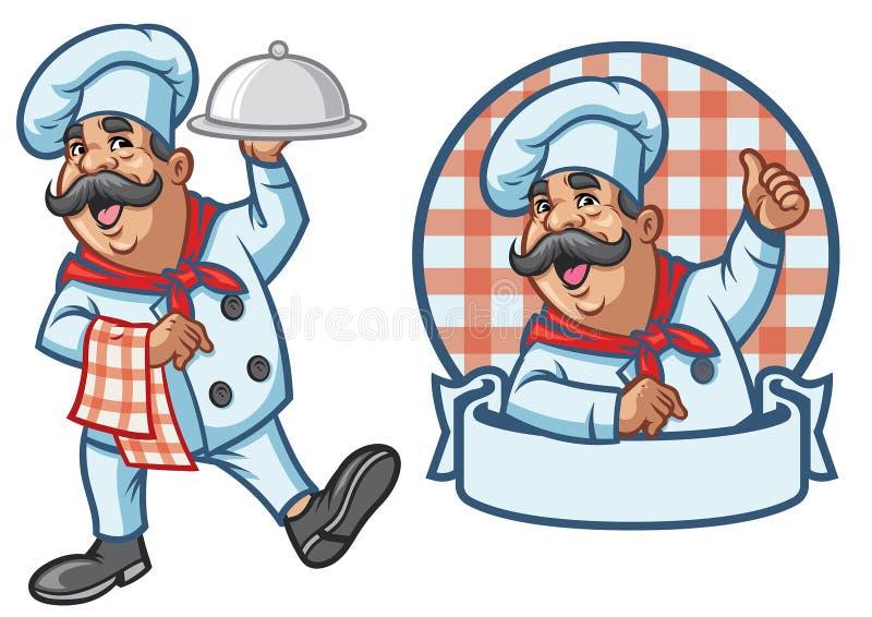 Kreskówka ustawiająca szczęśliwy szef kuchni royalty ilustracja