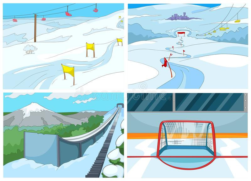 Kreskówka ustawiająca tła - sport infrastruktura royalty ilustracja